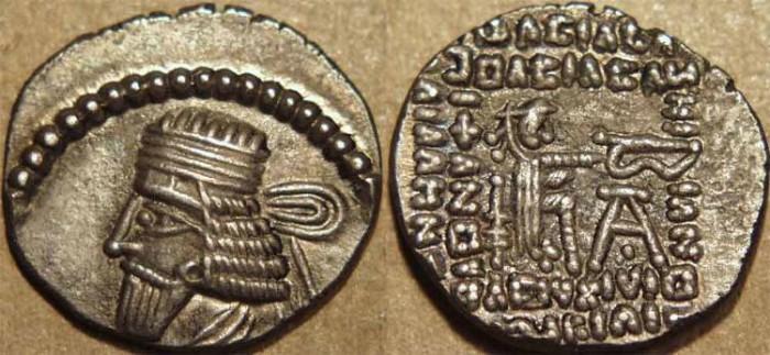 Ancient Coins - PARTHIA, VOLOGASES I (51-78 CE) Silver drachm, Ecbatana, Sell 70.13. CHOICE!