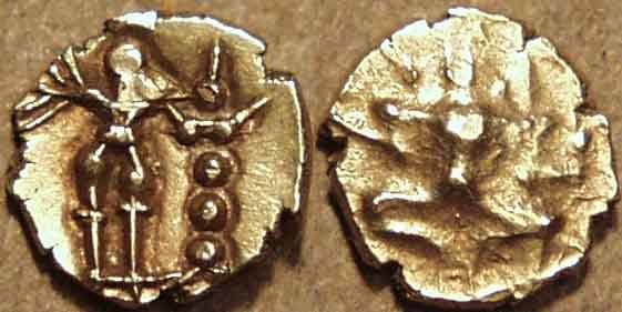Ancient Coins - INDIA, Hoysalas: Anonymous (c. 12th century) Gold fanam, SEATED Durga. VERY RARE!