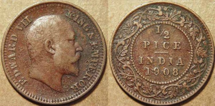 Ancient Coins - BRITISH INDIA, Edward VII AE 1/2 pice, 1908