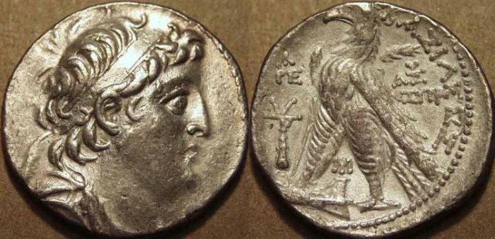Ancient Coins - Seleucid Kingdon: Antiochos VII Euergetes AR tetradrachm, Phoenician standard