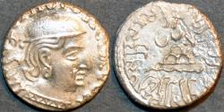 Ancient Coins - INDIA, WESTERN KSHATRAPAS: Rudrasena I (c.199-222 CE) Silver drachm, as Kshatrapa, Legend A, year S. 124. SECOND KNOWN & CHOICE!