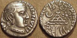 Ancient Coins - INDIA, WESTERN KSHATRAPAS: Jivadaman (c.197-198 CE) Silver drachm, Legend B. RARE and CHOICE!