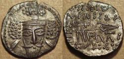 Ancient Coins - PARTHIA, VOLOGASES V (191-208 CE) Silver drachm, Ecbatana, Sell 86.3. SUPERB!