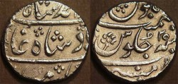 Ancient Coins - BRITISH INDIA, BOMBAY PRESIDENCY: Silver rupee in the name of Muhammad Shah (1719-1748), Munbai, RY 25. SCARCE + SUPERB!