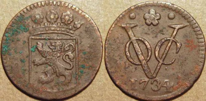 Ancient Coins - DUTCH EAST INDIES: Copper duit of Holland, 1734, scarcer date