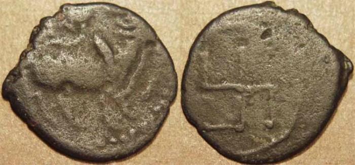 World Coins - INDIA, Pallavas: Anonymous potin unit, c. 400-675, swastika reverse. SCARCE!