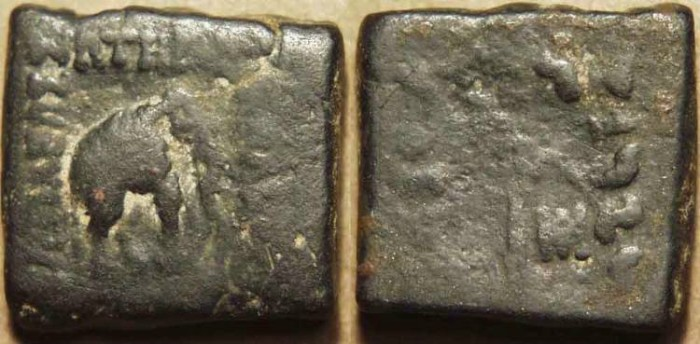 Ancient Coins - INDO-GREEK: Menander AE square hemi-obol or double unit: Elephant/goad. RARE!
