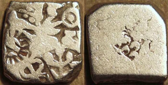Ancient Coins - INDIA, MAURYA: Series Vb punchmarked silver karshapana, GH 512. CHOICE!