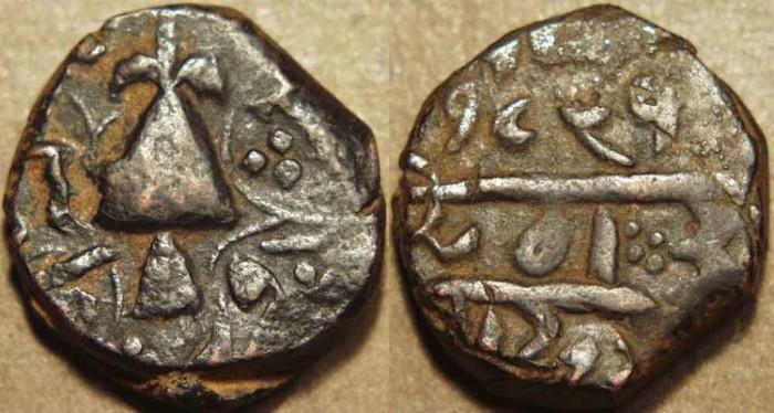 Ancient Coins - INDIA, SIKH, Copper falus, Peshawar, VS 1892. RARE and CHOICE!