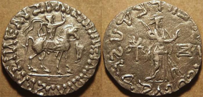 Ancient Coins - INDO-SCYTHIAN, AZES II Silver tetradrachm, Athena reverse, Senior 98.460aT. SUPERB!