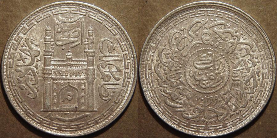 World Coins - INDIA, HYDERABAD, Mir Mahbub Ali Khan (1868-1911) Charminar Series Silver rupee, Hyderabad, AH 1324, RY 40. SUPERB!