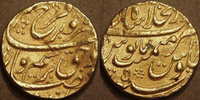 Ancient Coins - INDIA, MUGHAL: Farrukhsiyar (1713-1719) Gold mohur, Shahjahanabad, RY 5
