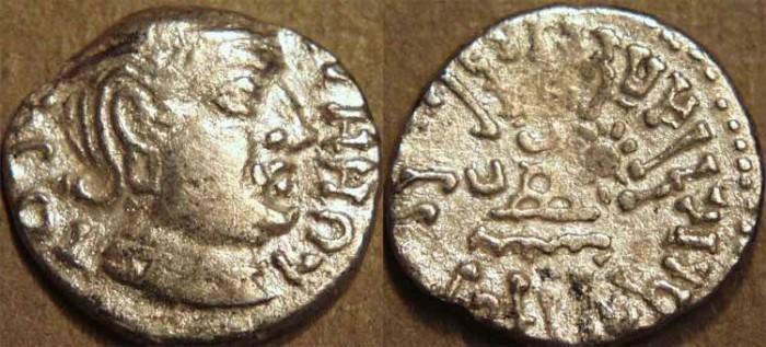 Ancient Coins - INDIA, WESTERN KSHATRAPAS: Rudrasena I (c.199-222 CE) Silver drachm, as Kshatrapa, Legend A, year S. 12x.