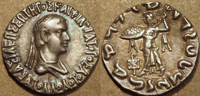 Ancient Coins - Indo-Greek: Apollodotus II AR drachm, SUPERB!