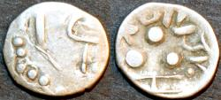 """Ancient Coins - INDIA, UNKNOWN KINGDOM IN SIND OR PUNJAB, """"Tapana"""" Silver unit """"Three Dot"""" type, CHOICE!"""