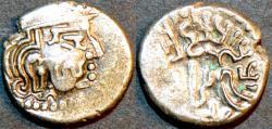 Ancient Coins - INDIA, MAITRAKAS of VALABHI, Sarva Bhattaraka AR drachm, late type. SCARCE!