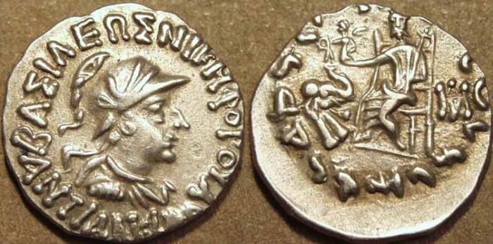 Ancient Coins - Indo-Greek: Antialcidas AR drachm: helmeted bust. CHOICE!