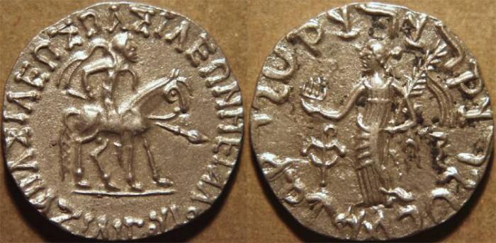 Ancient Coins - INDO-SCYTHIAN: Azilises AR tetradrachm. SCARCE and SUPERB!