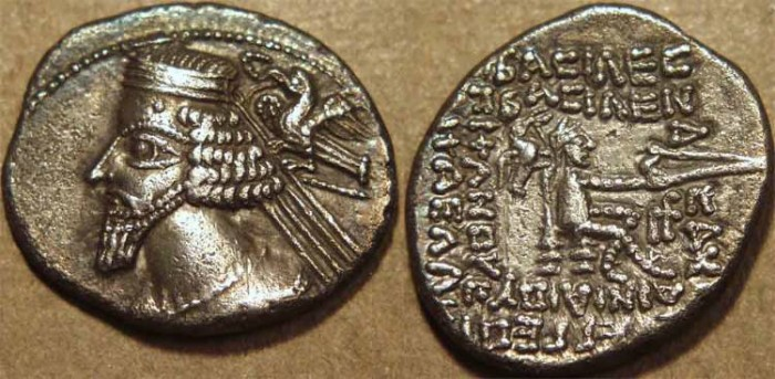 Ancient Coins - PARTHIA, PHRAATES IV (38-2 BCE) Silver drachm, Rhagae, with additional eagle on reverse!! SUPERB, UNPUBLISHED and PRESUMED UNIQUE!