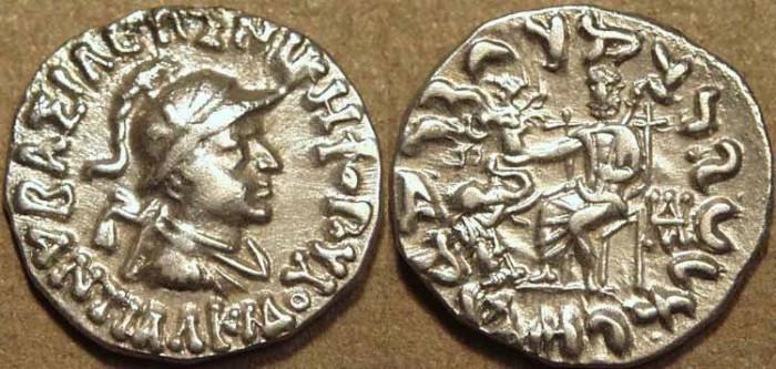 Ancient Coins - Indo-Greek: Antialkidas AR drachm: helmeted bust. CHOICE!