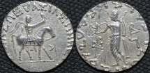 Ancient Coins - INDO-SCYTHIAN, AZES II Silver tetradrachm, Zeus left type, Senior 105.195T. SUPERB!