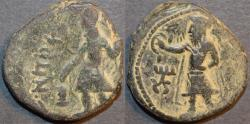 Ancient Coins - INDIA, KUSHAN: Kanishka I AE tetradrachm, Athsho reverse. SCARCE!