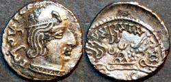 Ancient Coins - INDIA, WESTERN KSHATRAPAS: Rudrasena I (c.199-222 CE) Silver drachm, as Mahakshatrapa, Legend A, year S. 136