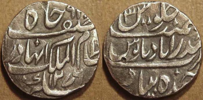 Ancient Coins - INDIA, HYDERABAD, Afzal ad-Daula (1857-69) Silver rupee ino Asaf Jah, Hyderabad, AH 1276, RY 3. CHOICE!