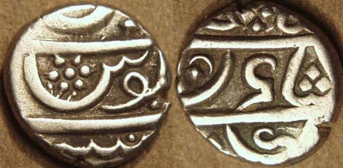 """Ancient Coins - BRITISH INDIA, BOMBAY PRESIDENCY: Silver 1/5 rupee (""""velli"""" fanam or """"Bombay billy""""), Malabar issue, SCARCE+CHOICE!"""