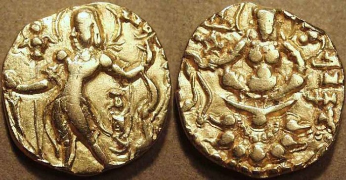 Ancient Coins - INDIA, Gupta: Chandragupta II Gold dinar, Archer type