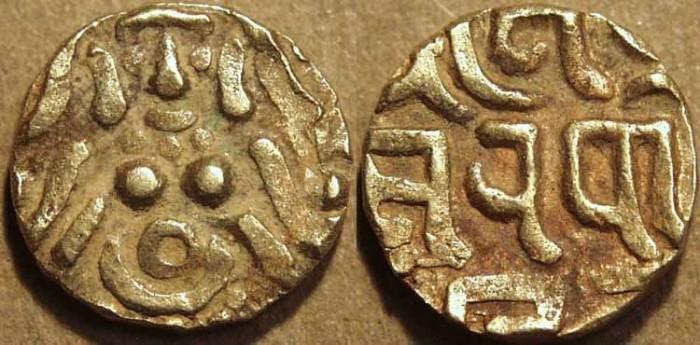 World Coins - INDIA, YADAVAS of TRIBHUVANAGIRI (BAYANA): Kumarapala Gold 4+1/2 masha. SCARCE+CHOICE!