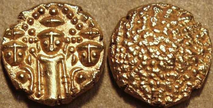 "Ancient Coins - BRITISH INDIA, Madras Presidency: (c. 1740-1807) Gold ""3-swami"" pagoda. SUPERB!"