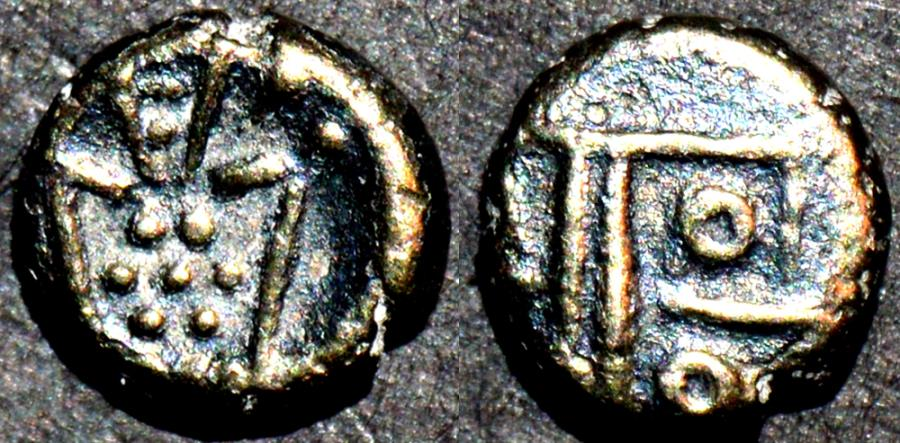 World Coins - DUTCH INDIA: Gold fanam, Negapatam type, later issue. CHOICE!