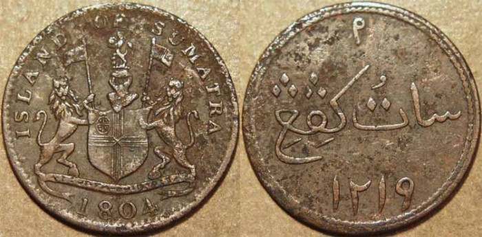 Ancient Coins - EAST INDIES (British period), ISLAND of SUMATRA Copper 1 keping, 1804. SCARCE!