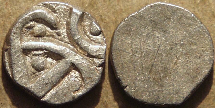 Ancient Coins - INDIA, Kuru janapada, c.4th century BCE, Silver 15-mana, uniface, compact type, SCARCE and SUPERB!