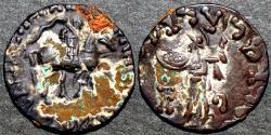 Ancient Coins - INDO-SCYTHIAN, AZES I Silver drachm, Senior 90, with Athena reverse. SCARCE & BARGAIN-PRICED!