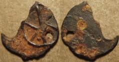 Ancient Coins - INDIA, KADAMBAS of BANAVASI: Anepigraphic potin unit, chakra type. RARE!