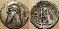 Ancient Coins - PARTHIA, MITHRADATES II (123-88 BCE) Silver drachm, Rhagae, Sell 26.14. RARE & CHOICE!