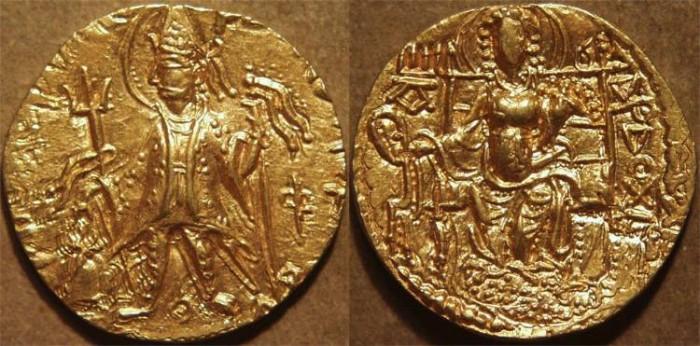 "Ancient Coins - INDIA, KUSHAN: VASISHKA or ""CHHU"" Gold dinar. SUPERB!"