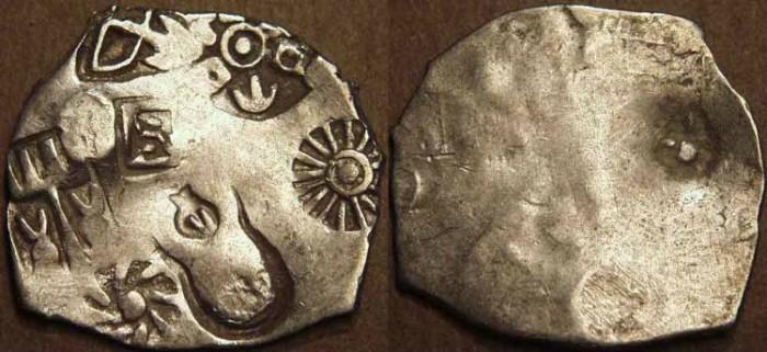 Ancient Coins - INDIA, MAGADHA: Series I AR punchmarked karshapana GH 121. CHOICE!