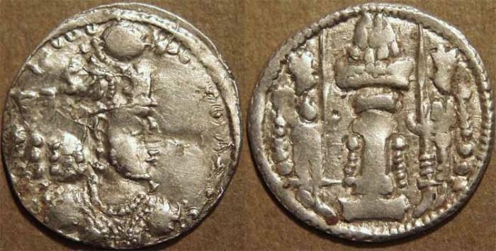 Ancient Coins - SASANIAN: Varhran IV Silver drachm, eastern series, Taxila mint. SCARCE!