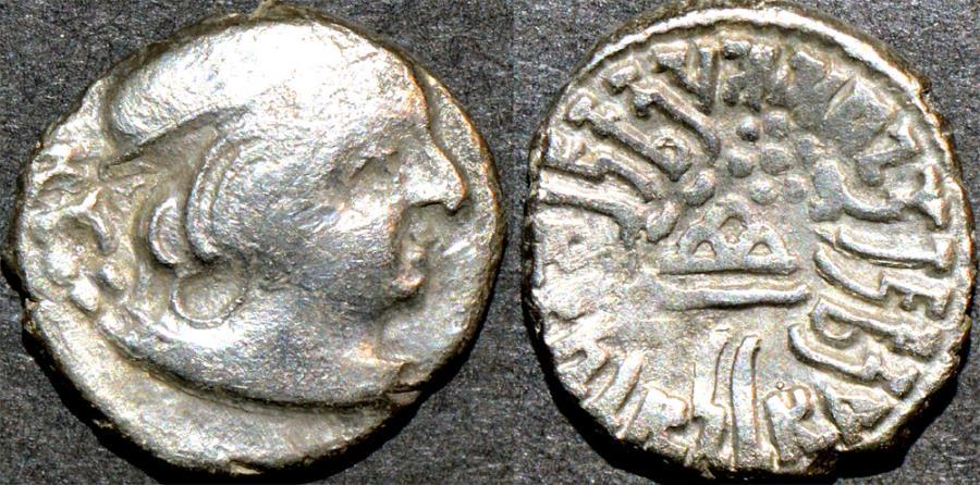 Ancient Coins - INDIA, INDIA, WESTERN KSHATRAPAS: Yasodaman II (315-332 CE) Silver drachm, year S. 24x. SCARCE & CHOICE!