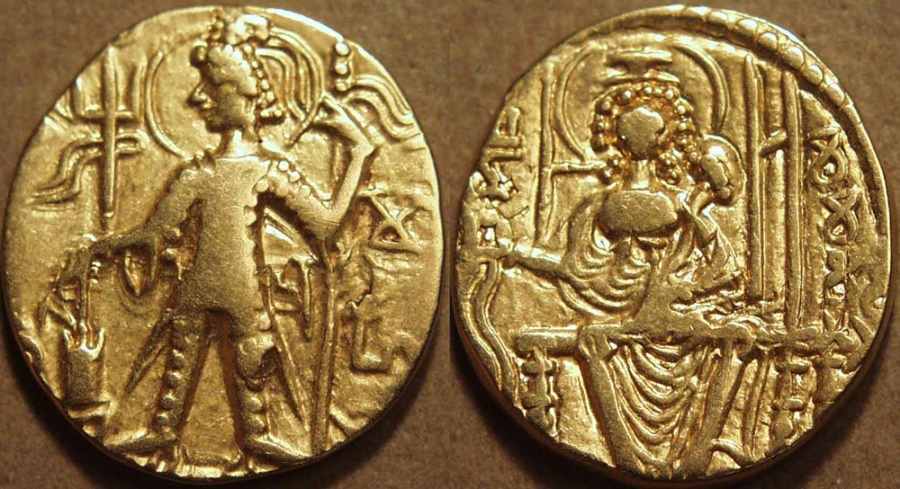Ancient Coins - INDIA, Kushan: Mahi Gold dinar, RARE and CHOICE!
