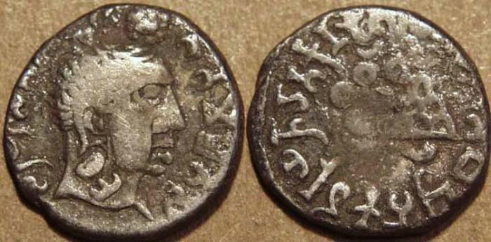 World Coins - INDIA, Satavahanas: Gautamiputra Sri Yajna Satakarni (167-196 CE) AR drachm. VERY RARE!