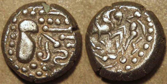 World Coins - INDIA, Silaharas of Konkan ? or Paramaras of Malwa ?, Anonymous Silver drachm (gadhaiya paisa type) with Battle Scene. UNUSUAL and CHOICE!