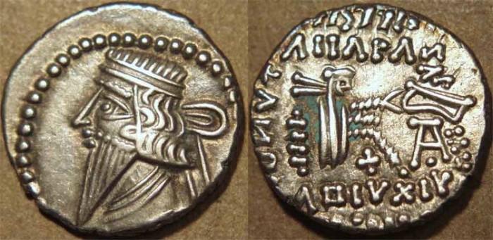 Ancient Coins - PARTHIA, MITHRADATES IV (140 CE) Silver drachm, Ecbatana, Sell 82.1. SCARCE & SUPERB!
