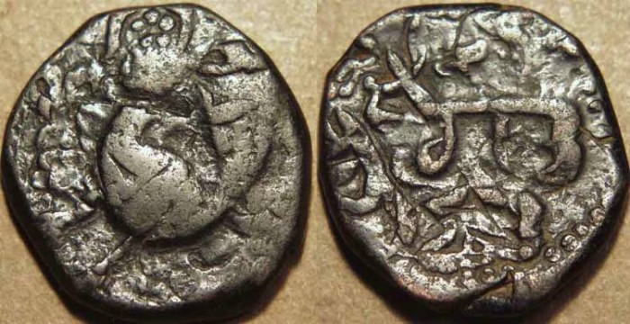 Ancient Coins - INDIA, SIKH, Copper falus, Peshawar, Overstruck and RARE!