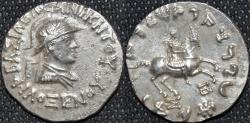 Ancient Coins - INDO-GREEK: Philoxenos AR tetradrachm, helmeted type, RARE and CHOICE!