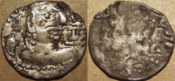 Ancient Coins - INDIA, HEPHTHALITES, ALCHON HUNS, Mihirakula Silver drachm. VERY RARE!