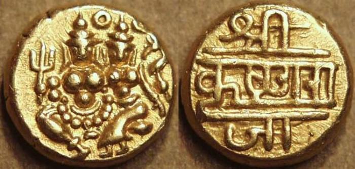 Ancient Coins - INDIA, KINGDOM OF MYSORE, Krishna Raja Wodeyar (1799-1868): Gold pagoda. SCARCE+SUPERB!